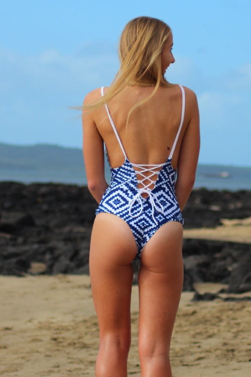 One piece Bikini Brazilian Design Blue Pattern