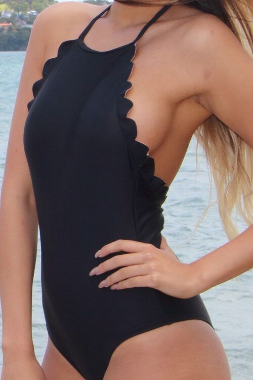 Halter neck black one-piece low cut bikini (2)