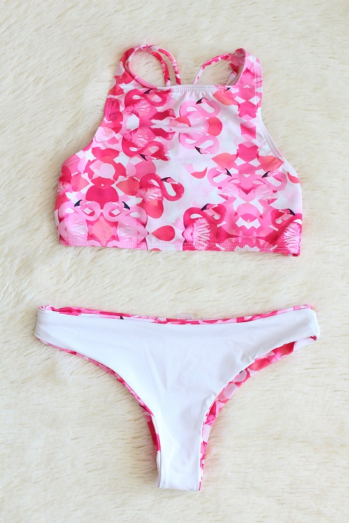 Flamingo High Neck Reversible Bikini