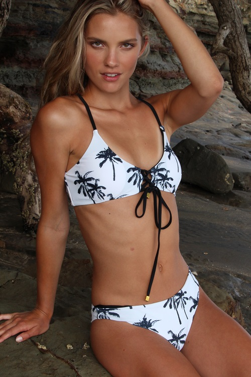 Coconut Palm Tree Triangle Strings Tied Bikini