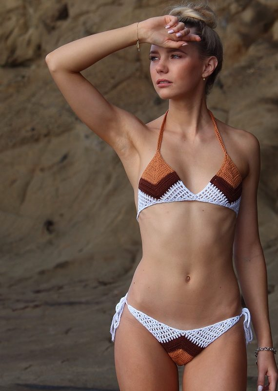 Crochet Brazilian triangle color cheeky block bikini