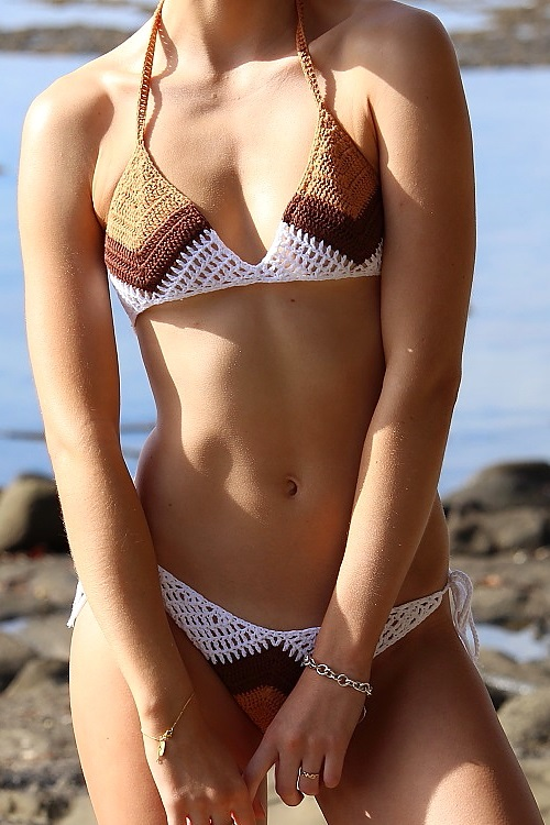 crochet brazilian triangle thong color block bikini 2